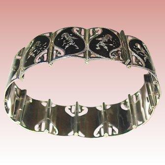 Gorgeous Siam Sterling Bracelet w Goddess Decorated Links