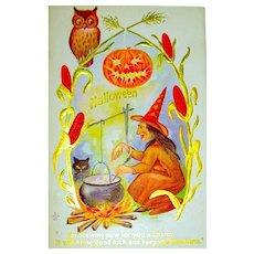 Antique Halloween Postcard ~ Witch Brewing a Potion, Owl, JOL, Black Cat