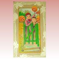 A Joyous Halloween Postcard ~ Boys Pranking with JOL's ~ UNUSED
