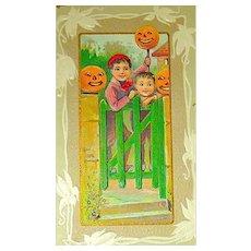 REDUCED PRICE ~ A Joyous Halloween Postcard ~ Boys Pranking with JOL's ~ UNUSED