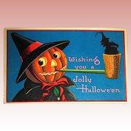 German GEL Halloween Postcard ~ JOL Witch, Corncob Pipe, Tiny Witch