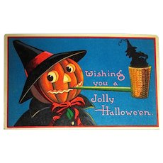 German GEL Halloween Postcard ~ JOL Witch, Corncob Pipe, Tiny Witch