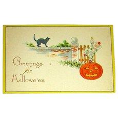 Gibson Art Co. Halloween Postcard ~ Clown on JOL ~ UNUSED