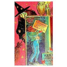 Antique Halloween Postcard ~ Ugly Witch, Naughty Boys, Green Cat & Other Symbols