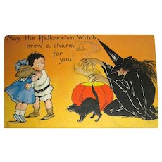Tuck Halloween Postcard ~ Evil Witch, Black Cat, Scared Kids