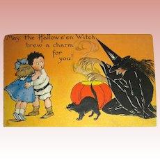 Tuck Halloween Postcard ~ Evil Witch, Black Cat, Scared Kids