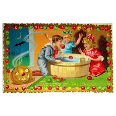 HTF Colorful Sample Halloween Postcard ~ Apple Dunking Game
