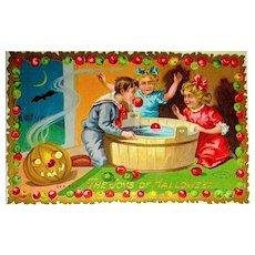HTF Colorful Sample Halloween Postcard ~ Apple Dunking Game