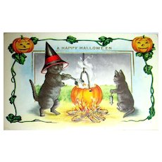 Adorable Whitney Halloween Postcard ~ Mama Cat, Baby Cat & Mouse