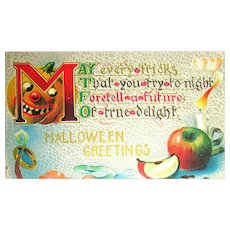 Evil Looking Jack O'Lantern Halloween Postcard