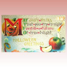 Evil Looking Jack O'Lantern Halloween Postcard