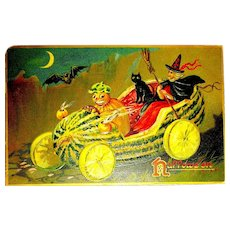 Tuck Series 150 Halloween Postcard ~ Veggie Driver, Squash Car, Witch, Cat, Bat