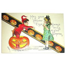 H.B. Griggs Artist Sgn. German Postcard ~ Adorable Sprite, Girl, JOLs