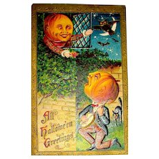 Halloween Pumpkin Man Serenades His Pumpkin Sweetheart ~ 1910 Postcard