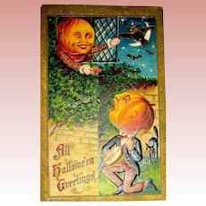 Halloween Pumpkin Man Serenades His Pumpkin Sweetheart ~ 1910 Postcard