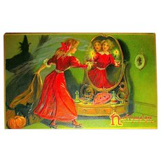 Tuck Series 150 Halloween Postcard ~ Pretty Woman Sees Man in Mirror