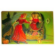 Tuck Series 150 Halloween Postcard ~ Pretty Woman Sees Man in Mirror