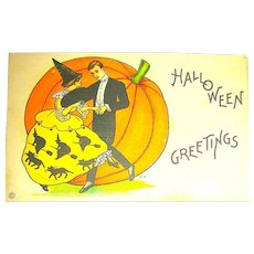 Stecher Halloween Postcard ~ Fancy Couple Dancing, Pumpkin Background