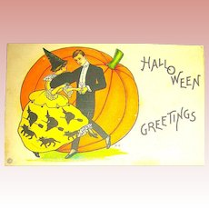 Stecher Halloween Postcard ~ Fancy Couple Dancing, Pumpkin Background