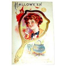 Mirror Series Halloween Postcard ~ Girl, Apple Peel, Witch, Cat