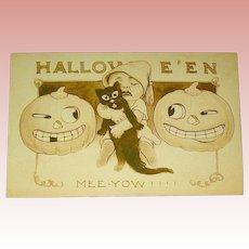 Adorable Gibson Art Co. Halloween Postcard ~ Evil JOLs, Scared Baby Squeezes Cat