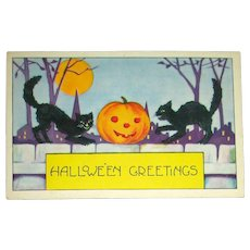 Unused Whitney halloween Postcard ~ Black Cats & JOL