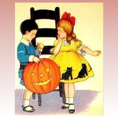 Cute Halloween Postcard ~ Girl in Halloween Dress, Boy, Giant JOL, Pet Cat
