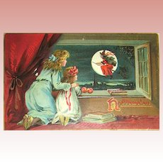 Tuck Series 150 Halloween Postcard ~ Girls Watch A Witch Flying on Her Broomstick