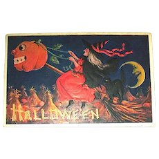 IAP Halloween Postcard ~ Witch Rides Scary JOL Head Broom