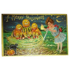 Halloween Postcard ~ Veggie Kids, Party Time Girl, Black Cat