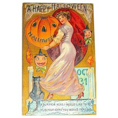 Antique Halloween Postcard ~ Glamorous Lady, Large JOL, other symbols