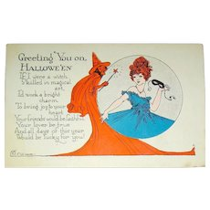 Unused Halloween Postcard ~ Witch & Lovely Lady