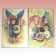 Pair of Clapsaddle Decoration Day Postcards - Boys, Wreaths, Flags