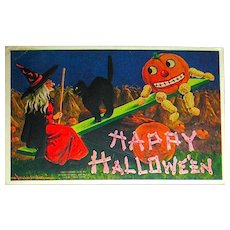 Bernardt Wall Halloween Postcard ~ Witch & JOL w Peanut Limbs