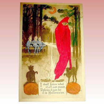 Amazing Gibson Art Co. Hand Colored Halloween Postcard ~ Extremely Rare
