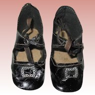 Old Black Leather Doll Shoes w Bows & Buckles ~ Size 8