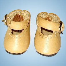 "Tiny Pair of Vintage Beige Faux Leather Shoes ~ 1 1/2"" ~ FREE Shipping"