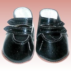 "Cute Vintage Black Patent Leather Doll Shoes w Double Straps ~ 3"" Long"