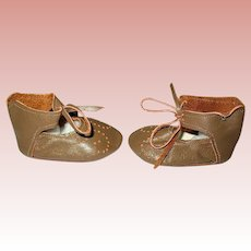 "Vintage Unused Brown Leather Doll Shoes ~ 2 3/4"" Long"