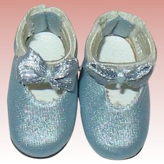 "Vintage Lilliputian Size Light Blue Doll Shoes ~ 7/8"" Long"