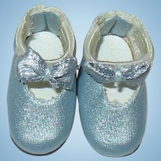 "Vintage Lilliputian Size Light Blue Doll Shoes ~ 7/8"" Long"