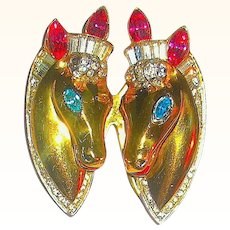 Gorgeous CORO Sterling Vermeil Horse Heads Duette