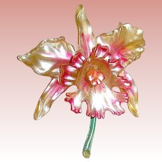 Stunning 20's Celluloid Figural Orchid Brooch