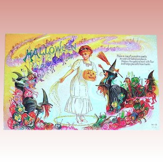 Precious Nash Halloween Postcard ~ Pretty Woman Stays Safe from Witches and Goblins