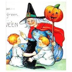Whitney Halloween Postcard ~ Friendly Witch, Children, JOLs ~ UNUSED