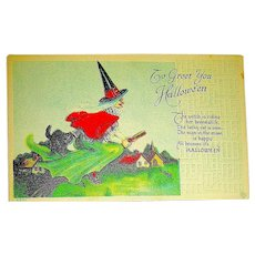 Unused Halloween Postcard ~ Happy Witch & Cat Riding a Broom