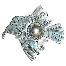 Rare 980 TAXCO Early Moctezuma Flying Eagle Pin w Aztec Motif