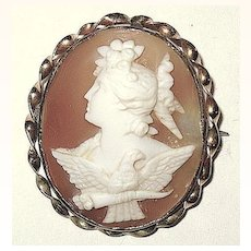 Rare Antique Cameo Pin ~ Demeter and Royal Eagle