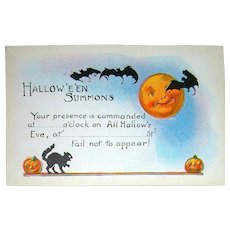 Exceptional Vintage Halloween Postcard Invitation ~ Excellent ~ Unused