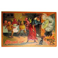 Tuck 160 Series Excellent Postcard ~ Witch, Devils w Green Wings, Veggie Kids, Cat